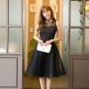 ชุดเดรสสั้นสีดำ แขนกุด กระโปรงบาน สวยหวาน น่ารักๆ แฟชั่นสไตล์เกาหลี ราคาถุูกก