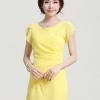 ชุดทำงานแฟชั่นเกาหลี สีเหลือง ชุดเดรสสั้น ชุดเดรสเข้ารูป ผ้าชีฟอง เป็นชุดเดรสหวาน แบบสวย น่ารัก สไตล์แฟชั่นเกาหลี ( S,M,L,XL,XXL,XXXL )