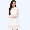 ชุดเดรสทำงานสวยๆสไตล์เกาหลี สีขาว ชุดเดรสสั้น คอปก แขนยาว เอวเข้ารูป ( S M L XL ) เป็นชุดทำงานออฟฟิศ(บริษัท),คุณครู,ราชการ ให้ลุคสวยหวาน น่ารักๆ ดูเรียบร้อย