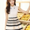 ชุดออกงานสวยๆแฟชั่นเกาหลี สีดำ ผ้าลูกไม้ เหมาะกับการใส่ทำงาน หรือจะใส่ออกงาน ไปงานแต่งงานก็ได้ จะให้ลุคที่สวยสง่า