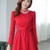 ชุดทำงานแฟชั่นเกาหลีสวยๆ มินิเดรสน่ารัก เดรสสั้น แขนยาว สีแดง คอประดับคริลตัล ( S M L XL )