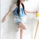 เสื้อกางเกงเด็กหญิงยีนส์ผ้านิ่ม แขนลูกไม้สีขาวsize130