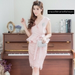 ชุดเดรสสวยหรูสีชมพู ออกงาน ไปงานแต่งงาน ผ้าไหมอิตาลี ทรงเข้ารูป คอวี แขนกุด ราคาถูก