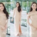 Charming Bow Maxi Dress – เดรสยาวสีทอง