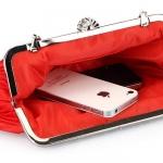 กระเป๋าถือออกงานสีแดง ทรงรี จับจีบ น่ารัก