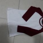เสื้อยืดเด็ก ขนาด อก 32 นิ้ว ยาว 24 นิ้ว ตัวเสื้อสีขาว แขนยาวสีแดง