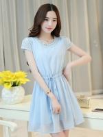 ชุดเดรสสั้นสีฟ้า แนวสวยหวาน น่ารัก ผ้าชีฟอง คอจีบ แขนสั้น เอวแบบสายรูด S M L