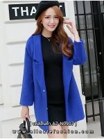 เสื้อโค้ทกันหนาวสีน้ำเงิน ลุคสวสดใสยน่ารัก ดูดี สไตล์เกาหลี