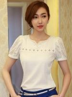 เสื้อทำงานสาวออฟฟิศ สีขาว แขนสั้น ให้ลุคสวยหวาน ดูดี เรียบร้อย เหมาะกับสาวออฟฟิศ คุณครู ราชการ ( S M L XL XXL )