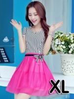 ชุดออกงานแฟชั่นเกาหลีสวยๆ มินิเดรสกระโปรงสั้น สีชมพูสดใส สามารถใส่ไปงานแต่งงาน ทำงานออฟฟิศ จะทำให้คุณกลายเป็นสาวหวาน น่ารัก ( size XL )