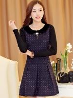 ชุดทำงานสวยๆแฟชั่นเกาหลี ชุดเดรสสั้นสีกรมท่า คอปก แขนยาว กระโปรงจีบจีบ ,S M L XL