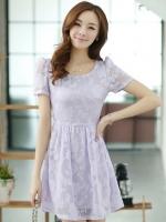 ชุดทำงานสวยๆ ชุดเดรสสั้น สีม่วง ให้ลุคสาวหวานสไตล์เกาหลี สวยหรู ดูดี เรียบร้อย ( S,M,L,XL )
