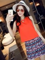 ชุดเซตเสื้อ-กระโปรงโทนสีส้มแนวเกาหลี เสื้อสีส้มแขนกุด + กระโปรงสั้นทรงเอพิมพ์ลายสวยๆ