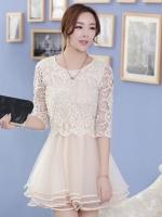 ( XL ) ชุดเดรสออกงานคนอ้วน ชุดไปงานแต่งงานคนอ้วนสวยๆ สีครีมเบจ เสื้อผ้าลูกไม้คอกลม แขนสามส่วน เย็บต่อด้วยกระโปรงผ้าแก้ว