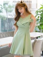 ชุดเดรสสีเขียว เปิดไหล่ ผ้าชีฟอง สวย น่ารัก สไตล์เกาหลี