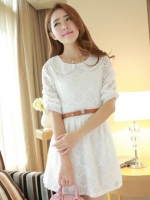 ชุดเดรสสั้นแฟชั่นเกาหลี ชุดเดรสลูกไม้สีขาว แขนสามส่วน เป็นชุดเดรสแนวหวานน่ารัก สวย เรียบร้อย ดูดี ( S M L )