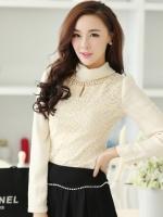 เสื้อทำงานแฟชั่นเกาหลี สีเบจ คอเต๋า แขนยาว ผ้าชีฟอง+ลูกไม้ , M L XL