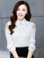 เสื้อทำงานแฟชั่นเกาหลี เรียบหรู ดูดี เสื้อเชิ้ตสีขาว แขนยาว คอปก ผ้าชีฟอง + ลูกไม้ , S M L XL