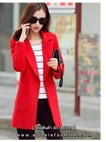 เสื้อโค้ทสีแดงตัวยาว ทรงสวย ดูดี