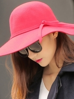หมวกปีกกว้างเที่ยวทะเล สีแดง ผ้าสักหลาด ทรงสวย น่ารัก