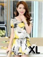 ชุดเดรสสั้นแฟชั่นเกาหลี มินิเดรสกระโปรง สีเหลืองพิมพ์ลายดอกไม้น่ารักๆ เหมาะสำหรับใส่เที่ยววันสบายๆ เดินห้างช้อปปิ้ง ดูหนัง แบบสวยๆน่ารักๆ สไตล์สาวหวาน , size XL