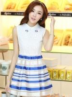 ชุดออกงานสวยๆแฟชั่นเกาหลี สีน้ำเงิน ผ้าลูกไม้ เหมาะกับการใส่ทำงาน หรือจะใส่ออกงาน ไปงานแต่งงานก็ได้ จะให้ลุคที่สวยสง่า