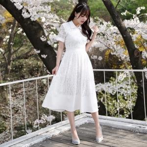 ชุดเดรสยาวสีขาว ผ้าลูกไม้ คอปก แขนสั้น ลุคสวยหวาน น่ารัก