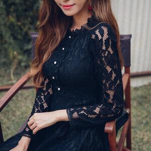 ชุดเดรสลูกไม้สีดำสวยหวาน น่ารัก แขนยาว สวย น่ารัก