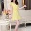 ชุดเดรสสั้นสีเหลือง แนวสวยหวาน น่ารัก ผ้าชีฟอง คอจีบ แขนสั้น เอวแบบสายรูด S M L thumbnail 4