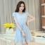 ชุดเดรสสั้นสีฟ้า แนวสวยหวาน น่ารัก ผ้าชีฟอง คอจีบ แขนสั้น เอวแบบสายรูด S M L thumbnail 1