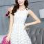 ชุดเดรสน่ารักแฟชั่นเกาหลี เดรสสั้นสีขาว ปักลายดอกไม้ คอกลม แขนกุด เอวเข้ารูป กระโปรงทรงสุ่ม S M L XL thumbnail 9