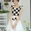 ชุดเดรสทำงานสาวออฟฟิศ สีดำขาว ลายตาราง กระโปรงสีขาว แนวเกาหลี สวยหวาน เรียบร้อย thumbnail 1