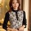 เสื้อทำงานแฟชั่นสไตล์เกาหลีสวยๆ เสื้อลูกไม้แขนยาวสีดำ คอจีน กระดุมคอ ผ้าลูกไม้เนื้อผ้ายืดหยุ่น thumbnail 1