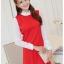 ชุดเดรสทำงานสีแดง แขนยาว คอเต่าช่วงคอ และแขน เย็บผ้าสีขาว สวยเก๋ thumbnail 1
