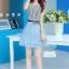 ชุดออกงานแฟชั่นเกาหลีสวยๆ มินิเดรสกระโปรงสั้น สีฟ้า สามารถใส่ไปงานแต่งงาน ทำงานออฟฟิศ จะทำให้คุณกลายเป็นสาวหวาน น่ารัก สดใส ( size XL ) thumbnail 2