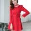 ชุดทำงานแฟชั่นเกาหลีสวยๆ มินิเดรสน่ารัก เดรสสั้น แขนยาว สีแดง คอประดับคริลตัล ( S M L XL ) thumbnail 4