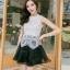 ชุดราตรีสั้น ชุดออกงาน ชุดเดรสแฟชั่นเกาหลี ชุดเดรสน่ารัก ชุดเดรสออกงาน ชุดเดรสสั้น เสื้อสีขาว แขนกุด เย็บติดกระโปรงสีดำ ( S,M,L,XL ) thumbnail 6