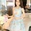 ชุดเดรสสั้นน่ารักสีฟ้า ลายดอกไม้ สวยหวานสไตล์สาวเกาหลี thumbnail 1