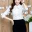 เสื้อทำงานแฟชั่นเกาหลี เรียบหรู ดูดี เสื้อเชิ้ตทำงานสีขาว คอปก แขนยาว ผ้าชีฟอง แต่งลายดอกไม้ , S M L XL thumbnail 9