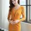 ชุดทำงานออฟฟิศแฟชันเกาหลี ชุดเดรสสั้นเข้ารูปสีเหลือง คอกลม แขนยาวลูกไม้ซีทรู เอวแต่งระบายจับจีบเก๋ๆ ,S M L thumbnail 1