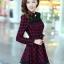 ชุดทำงานแฟชั่นเกาหลี ชุดเดรสสั้นลายสก๊อตสีแดงดำ คอปก แขนยาว ปลายกระโปรงแต่งด้วยผ้าแก้ว ,S M L XL thumbnail 3