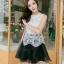 ชุดราตรีสั้น ชุดออกงาน ชุดเดรสแฟชั่นเกาหลี ชุดเดรสน่ารัก ชุดเดรสออกงาน ชุดเดรสสั้น เสื้อสีขาว แขนกุด เย็บติดกระโปรงสีดำ ( S,M,L,XL ) thumbnail 5