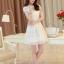 ชุดเดรสสั้นสีขาวสวยหวานสไตล์เกาหลี ผ้าลูกไม้ คอปก มีแขน thumbnail 7