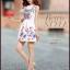 ชุดเดรสสั้นสีขาวลายดอกไม้สีสันสดใส แขนกุด เอวเข้ารูป สวยหวานสไตล์เกาหลี ไซส์ XL thumbnail 6