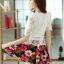 ชุดเดรสสั้นลายดอกไม้ เสื้อผ้าลูกไม้สีขาว เย็บต่อด้วยกระโปรงสั้นลายดอกไม้ เป็นชุดเดรสแฟชั่นน่ารักๆ สไตล์เกาหลี ( S,M,L,XL,) thumbnail 6