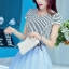 ชุดออกงานแฟชั่นเกาหลีสวยๆ มินิเดรสกระโปรงสั้น สีฟ้า สามารถใส่ไปงานแต่งงาน ทำงานออฟฟิศ จะทำให้คุณกลายเป็นสาวหวาน น่ารัก สดใส ( size XL ) thumbnail 3