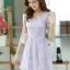 ชุดเดรสลูกไม้สีม่วง คอกลม แขนสั้น แนวเกาหลี สวยหวาน น่ารักๆ thumbnail 1