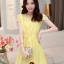 ชุดเดรสสั้นน่ารักๆ สีเหลือง ผ้าชีฟอง คอกลมแต่งระบาย แขนสั้น เอวสายรูด มีซับในทั้งตัว ขนาดไซส์ L thumbnail 1