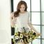 ชุดเดรสสั้นลายดอกไม้ เสื้อผ้าลูกไม้สีขาว เย็บต่อด้วยกระโปรงสั้นลายดอกไม้สีเหลือง เป็นชุดเดรสแฟชั่นน่ารักๆ สไตล์เกาหลี ( S,M,L,XL,) thumbnail 1