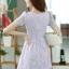 ชุดเดรสทำงานแฟชั่นเกาหลี ชุดเดรสทำงานสวยๆ ชุดเดรสน่ารัก ชุดเดรสสั้น ชุดเดรสลูกไม้ ผ้าลูกไม้ คอกลม แขนสั้น ( S,M,L,XL ) thumbnail 2